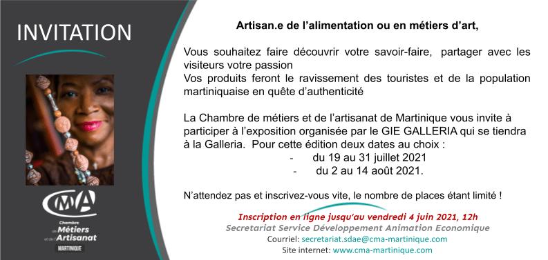 Invitation Inscription exposition La Galleria Juillet Aout 2021