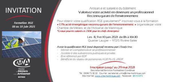 CMA Martinique inscription rge mai 2021