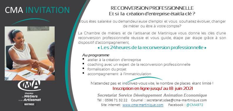 CMA Martinique Inscription Reconversion professionnelle 03juin2021