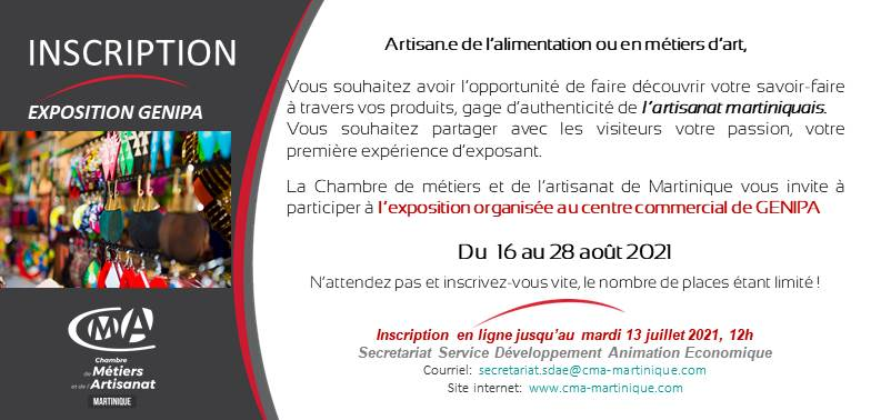 CMA Martinique Invitation Inscription exposition Genipa 16 au 28 Aout 2021 1