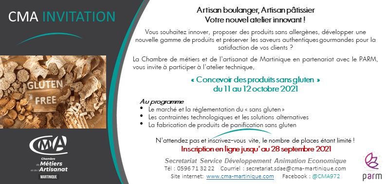 CMA Martinique Inscription Atelier concevoir des produits sans gluten 13 sept 2021
