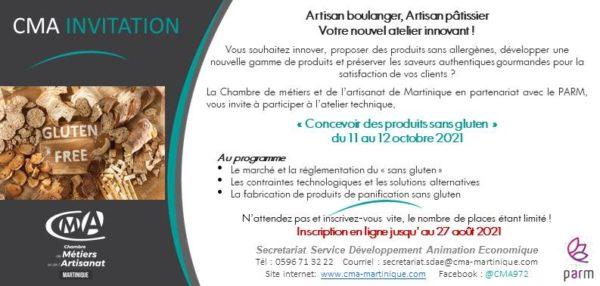 CMA Martinique Inscription Atelier concevoir des produits sans gluten 23juillet2021