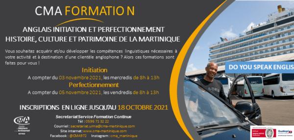 CMA Martinique Formations Anglais Taxi 2021 Novembre 2021