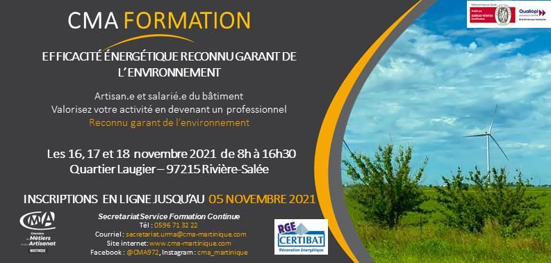 CMA Martinique Formations RGE 5 novembre 2021