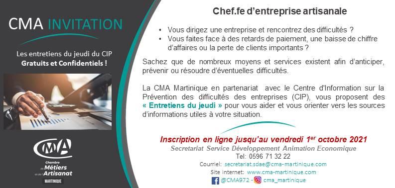 CMA Martinique Invitation CIP Prevention des entreprises en difficulte 7 octobre 2021